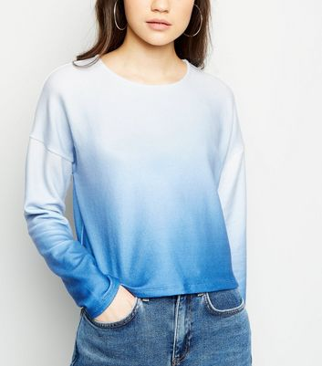 Blue Ombré Brushed Fine Knit Top