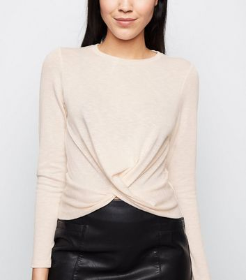Pale Pink Slub Fine Knit Twist Front Top