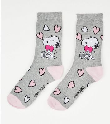 Grey Snoopy Heart Pattern Socks
