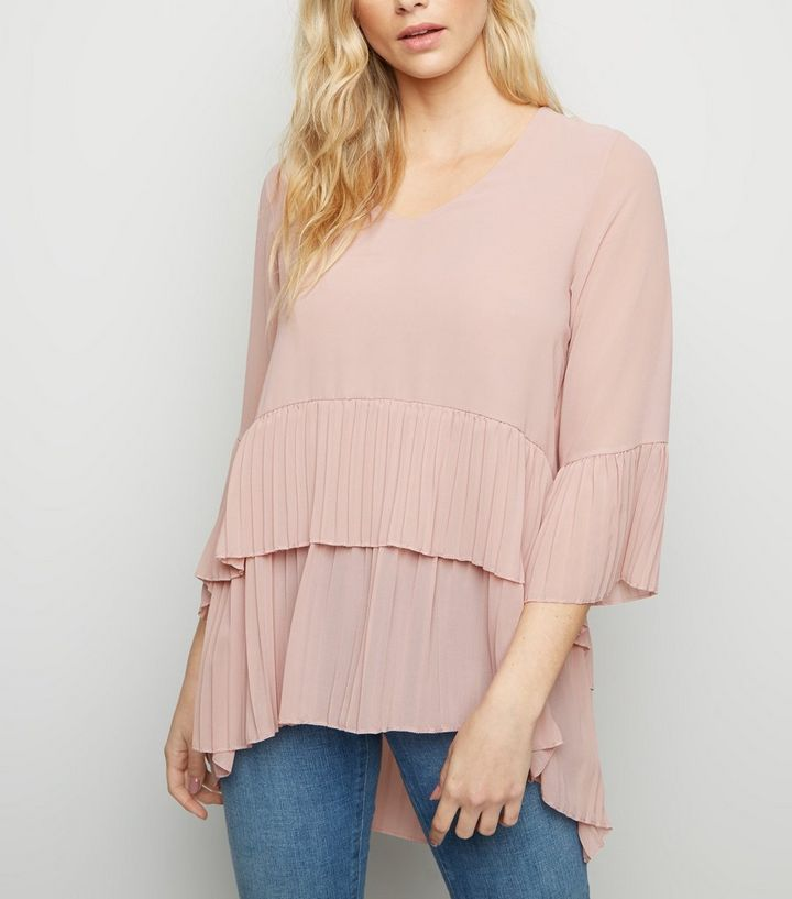 c3c9f280ac8 Mela Pale Pink Pleated Tunic Top | New Look