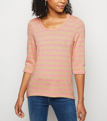 Pink Neon Stripe Fine Knit Top