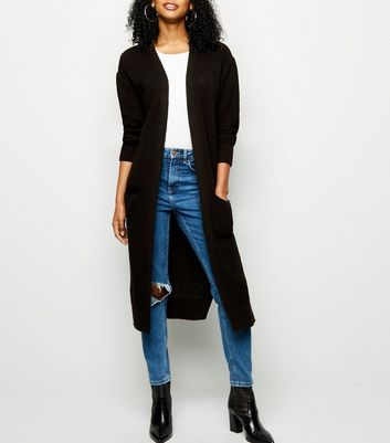 Black Pocket Side Midi Cardigan