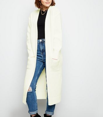 Cream Pocket Side Midi Cardigan