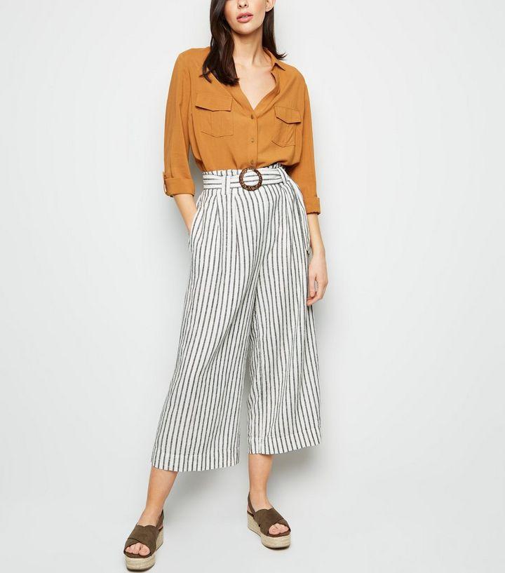 großer Rabatt zarte Farben heiß-verkauf echt Weiße Hose aus Leinen-Mix mit Streifen Für später speichern Von  gespeicherten Artikeln entfernen