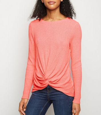 Orange Neon Twist Front Fine Knit Top