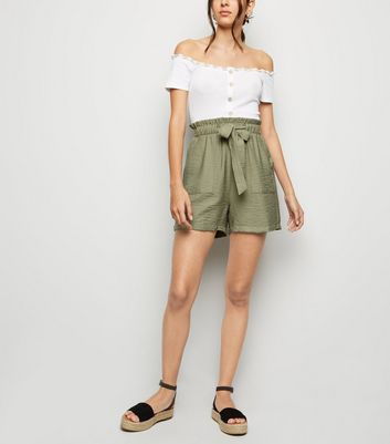 Olive Twill Paperbag Shorts