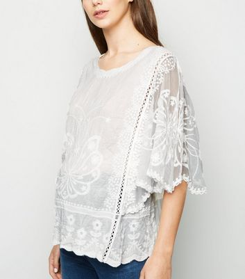 Maternity Off White Crochet Blouse