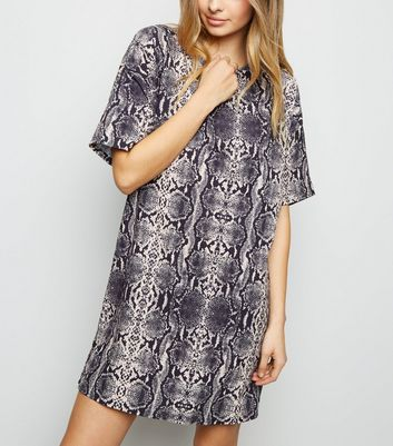 Grey Snake Print Slinky T-Shirt Dress