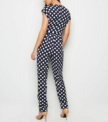 Mela Navy Polka Dot Jumpsuit New Look