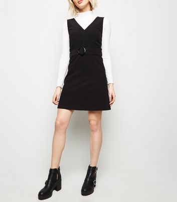 Black Corduroy Belted Pinafore Dress
