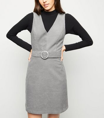 Grey Corduroy Belted Pinafore Dress