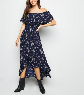 Mela Navy Floral Bardot Midi Dress