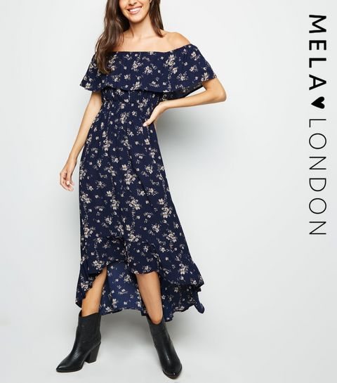09aba27760a ... Mela Navy Floral Bardot Midi Dress ...