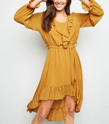 Mela Mustard Frill Dip Hem Dress New Look