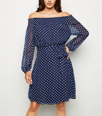 Mela Navy Polka Dot Bardot Belted Dress