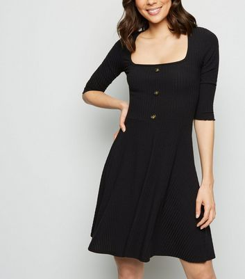 Black Button Front Square Neck Skater Dress