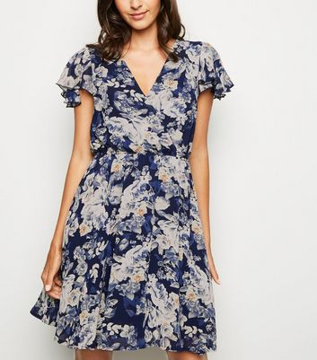 Mela Navy Floral Wrap Dress