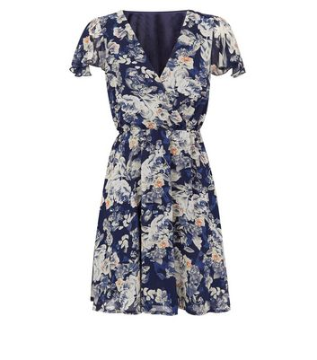 shop for Mela Navy Floral Wrap Dress New Look at Shopo