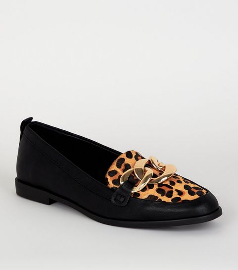 a540263243a ... Black Leather Leopard Print Chain Loafers ...
