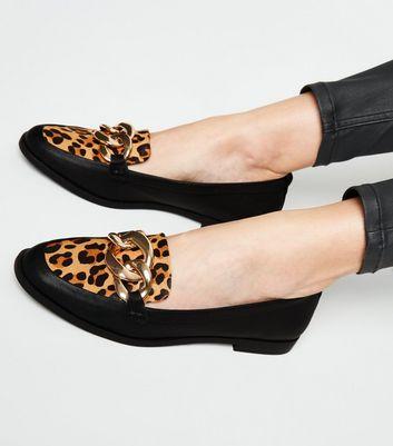 Black Leather Leopard Print Chain