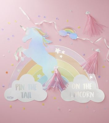 Multicoloured Unicorn Pin the Tail Game and Bunting