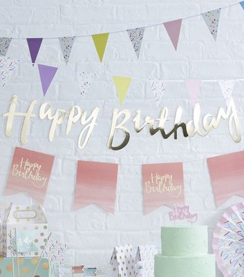 Gold Happy Birthday String Bunting