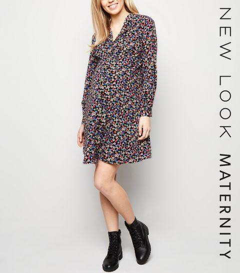 ... Maternity Black Floral Button Up Tea Dress ... 77d4dc733