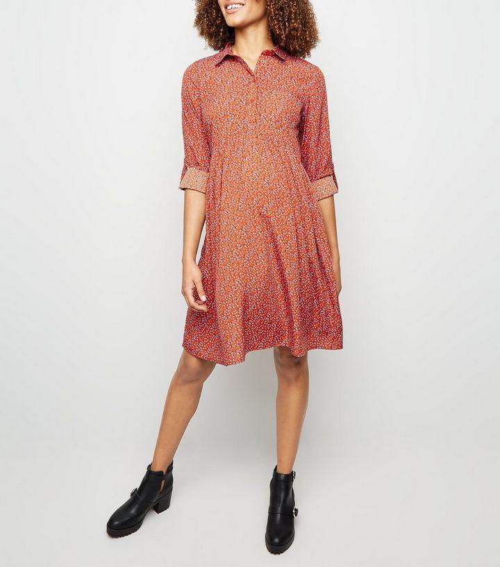 40d92ec34ec5 Maternity Red Ditsy Floral Smock Dress | New Look