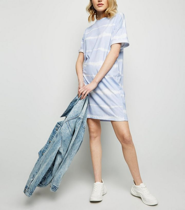 a7ad685ad1c Blue Tie Dye Jersey T-Shirt Dress