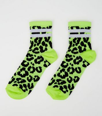 Yellow Neon Leopard Print Sport Stripe Socks