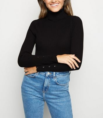 Black Roll Neck Button Cuff Jumper