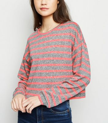 Grey Neon Stripe Boxy Fine Knit Top
