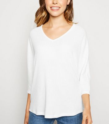 White V Neck Fine Knit Top