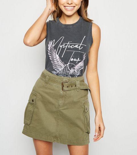 9c2d2c5959 ... Khaki Utility Pocket Belted Denim Skirt ...