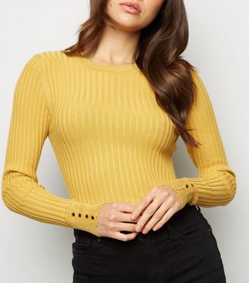 Mustard Popper Sleeve Crew Neck Jumper