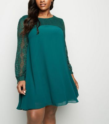 Curves Dark Green Lace Sleeve Tunic Dress