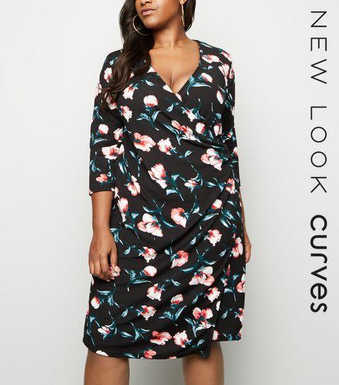 ... Blue Vanilla Curves Black Buckle Side Wrap Dress ...
