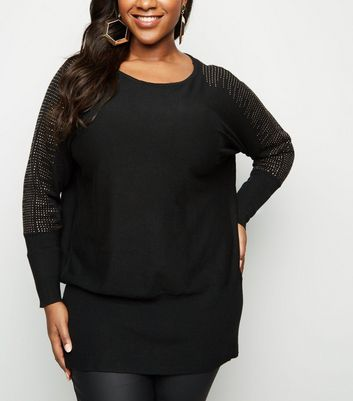 Blue Vanilla Curves Black Gem Sleeve Jumper