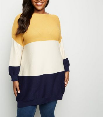 Blue Vanilla Curves Mustard Colour Block Jumper