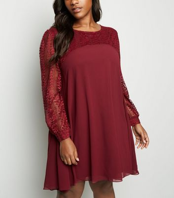 Curves Burgundy Lace Sleeve Tunic Dress