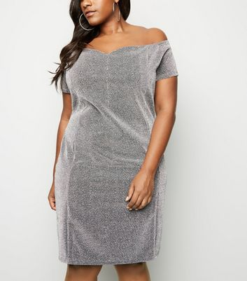 Blue Vanilla Curves Silver Glitter Bardot Dress