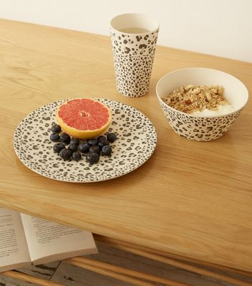 Grey Leopard Print Bamboo Plate