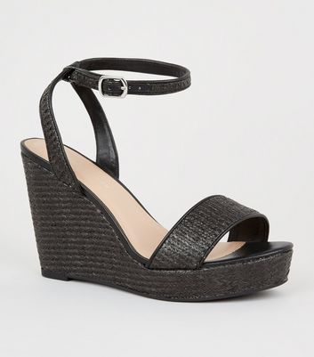 Wide Fit Black Woven Straw Effect Wedge Heels