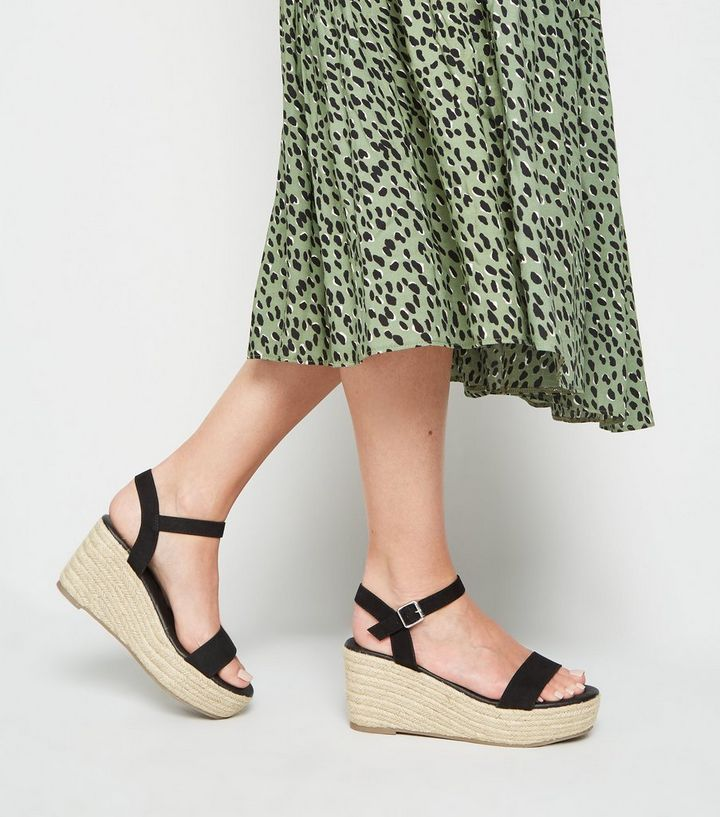 92792242c4a Wide Fit Black Footbed Espadrille Wedges Add to Saved Items Remove from  Saved Items