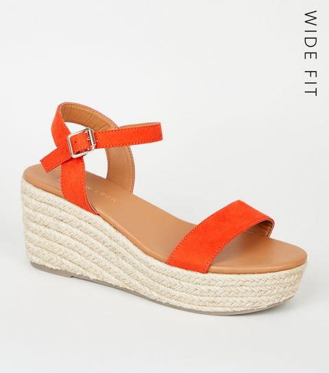 eab43ba6a3c8 ... Wide Fit Red Footbed Espadrille Wedges ...
