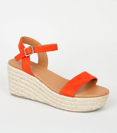 f30a41fbdac ... Wide Fit Red Footbed Espadrille Wedges ...