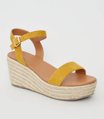 Wide Fit Yellow Footbed Espadrille Wedges