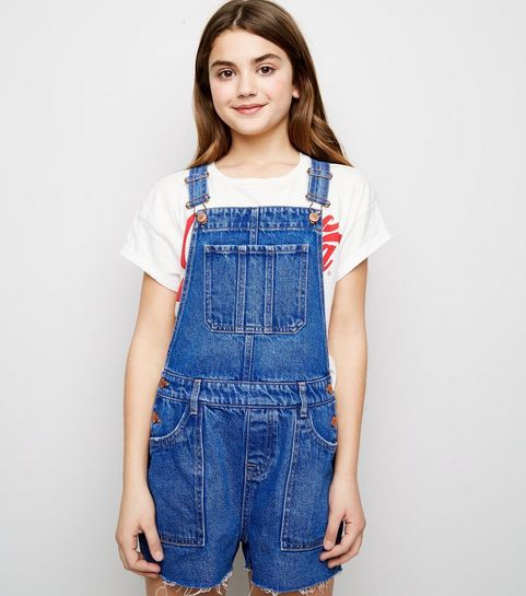 cca7616e73a ... Girls Bright Blue Denim Short Dungarees ...