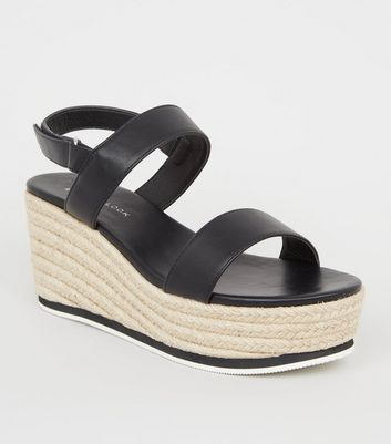 Wide Fit – Schwarze Espadrilles-Sandalen in Leder-Optik