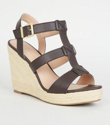 Wide Fit Brown Strappy Espadrille Wedge Sandals